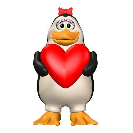 affetto: Illustrazione di una femmina di pinguino in possesso di un cuore isolato su uno sfondo bianco