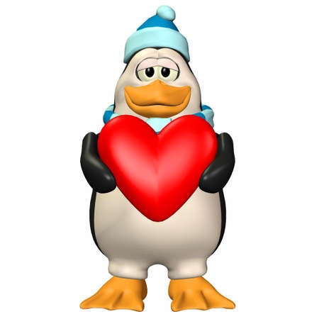cold day: Illustration of a male penguin holding a heart isolated on a white background