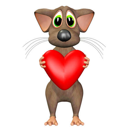 tender sentiment: Illustration of a mouse holding a heart isolated on a white background