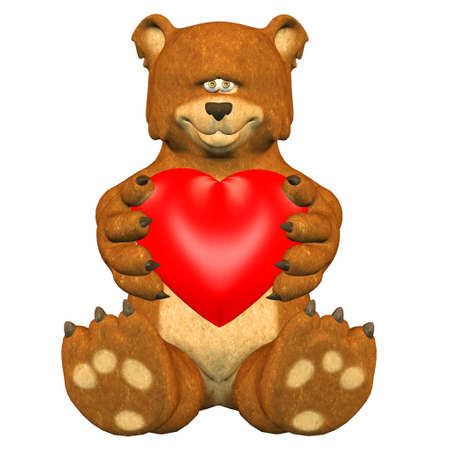 Illustration of a bear holding a heart isolated on a white background Stock Illustration - 12744923