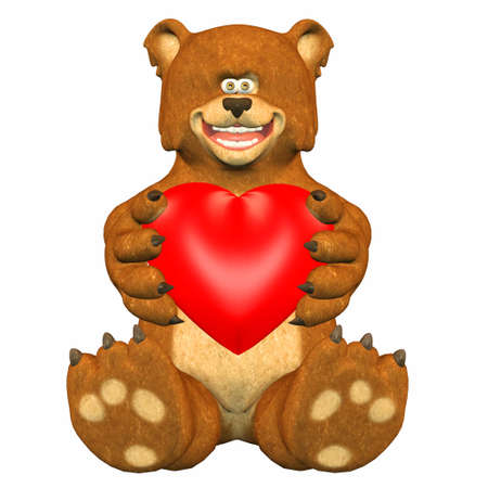 Illustration of a bear holding a heart isolated on a white background illustration