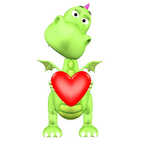 Illustration of a green dragon holding a heart isolated on a white background Stock Illustration - 12744777