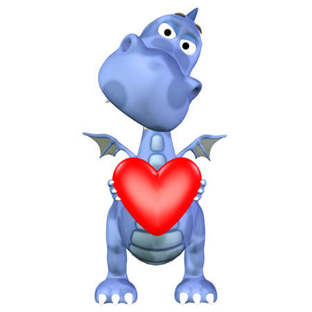 dinosaurs: Illustration of a blue dragon holding a heart isolated on a white background Stock Photo