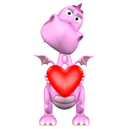 3d dragon: Illustration of a pink dragonholding a heart isolated on a white background