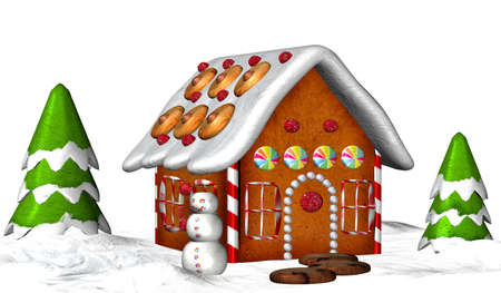 gingerbread cake: Illustration of a gingerbread house isolated on a white background Stock Photo