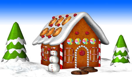 home baked: Illustration of a gingerbread house