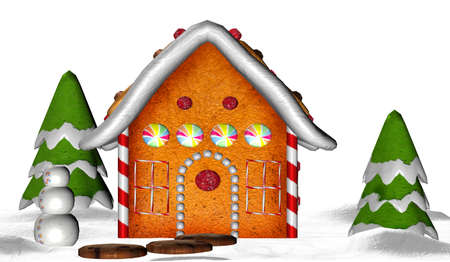 Illustration of a gingerbread house isolated on a white background Stock Illustration - 12743844