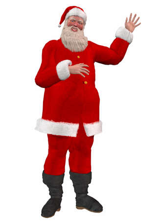 kris: Illustration of santa claus waving isolated on a white background Stock Photo