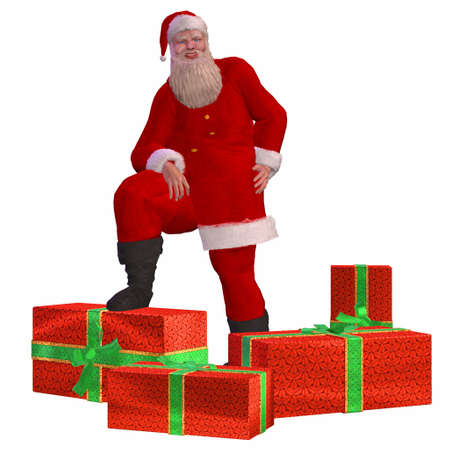 Illustration of santa claus posing with christmas presents isolated on a white background illustration