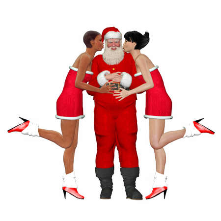 chubby: Illustration of santa claus being kissed by two lady friends isolated on a white background