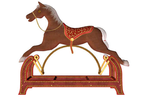 Illustration of a wooden rocking horse isolated on a white background