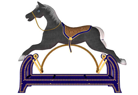 rocking: Illustration of a wooden rocking horse isolated on a white background