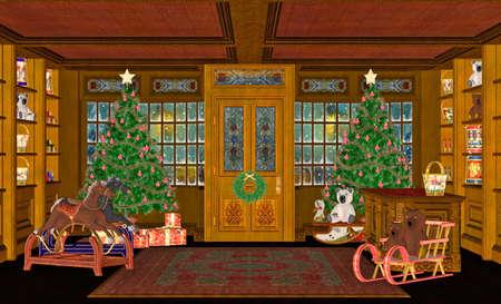 christmas horse: Illustration of a christmas scene