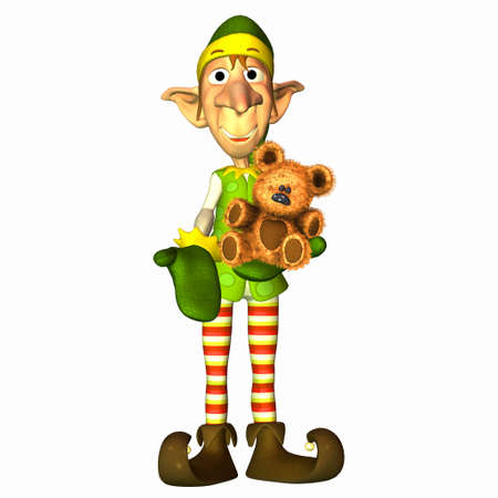 santa helper: Illustration of a christmas elf with a teddy bear isolated on a white background