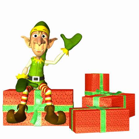 elfos navideÑos: Ilustración de un duende de la Navidad con regalos aislados en un fondo blanco