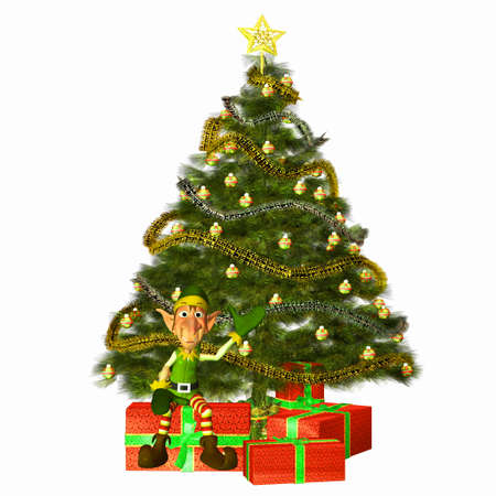 Illustration of a christmas elf with a tree and presents isolated on a white background illustration