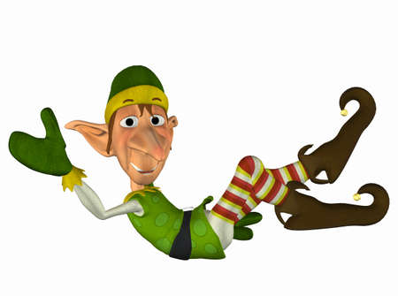 elves: Illustration of a christmas elf isolated on a white background Stock Photo