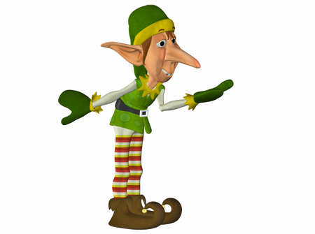 green elf: Illustration of a christmas elf isolated on a white background Stock Photo
