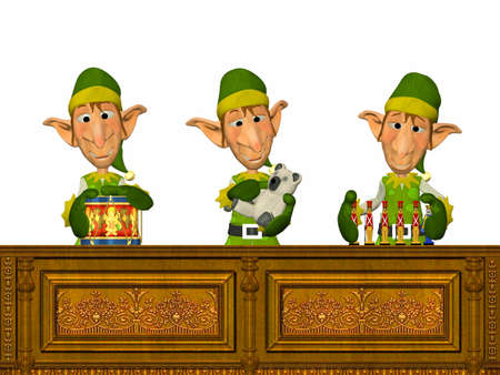 three presents: Illustration of a christmas elves working on santa s workshop isolated on a white background