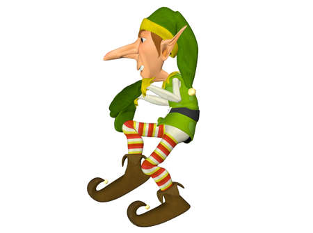 goblin: Illustration of a christmas elf isolated on a white background Stock Photo