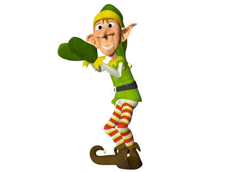 clumsy: Illustration of a christmas elf isolated on a white background Stock Photo