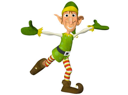 gnome: Illustration of a christmas elf isolated on a white background Stock Photo