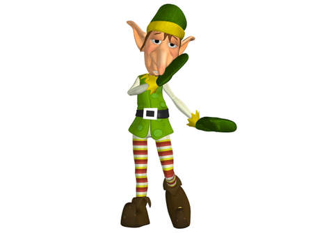 elf hat: Illustration of a christmas elf isolated on a white background Stock Photo