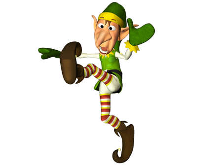 elf cartoon: Illustration of a christmas elf isolated on a white background Stock Photo