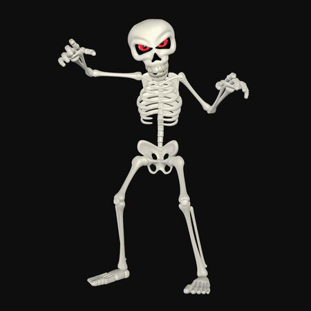 3d halloween: Illustration of a scary skeleton cartoon isolated on a black background