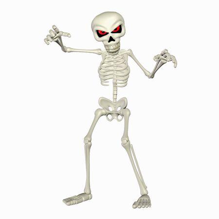 Illustration of a scary skeleton cartoon isolated on a white background illustration