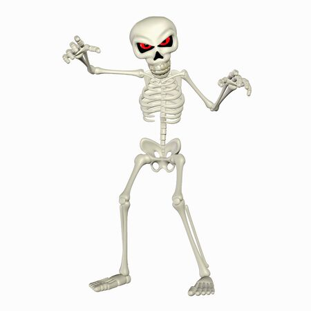 frighten: Illustration of a scary skeleton cartoon isolated on a white background