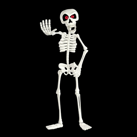 Illustration of an angry skeleton cartoon isolated on a black background