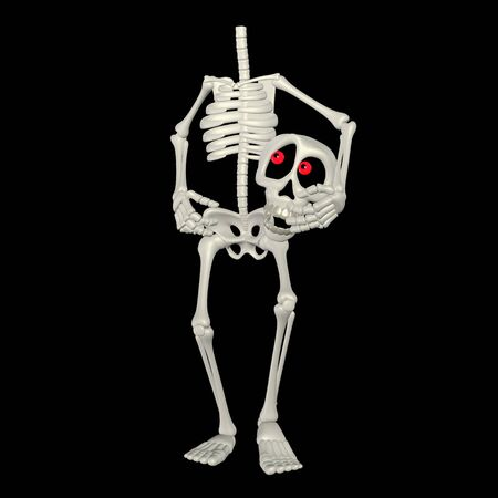 Illustration of a headless skeleton cartoon isolated on a black background illustration