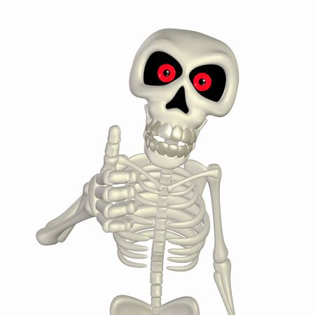 3d scary: Illustration of a skeleton cartoon giving thumbs up isolated on a white background