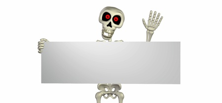 goofy: Illustration of a skeleton cartoon holding a blank sign isolated on a white background Stock Photo