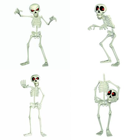 Illustration of a pack of four  4  skeletons cartoons with different poses and expressions  isolated on a white background Stock Photo