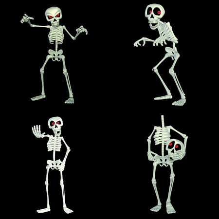Illustration of a pack of four  4  skeletons cartoons with different poses and expressions  isolated on a black background illustration