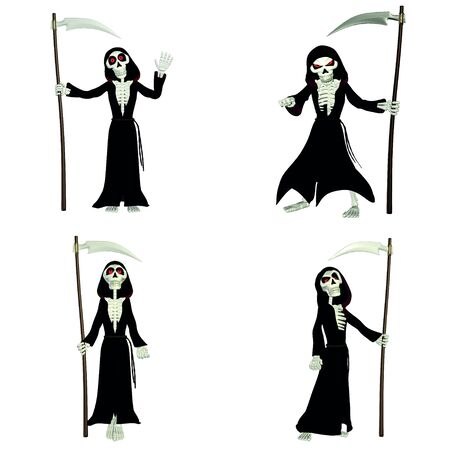 Illustration of a pack of four  4  grim reapers with different poses and expressions isolated  on a white background illustration
