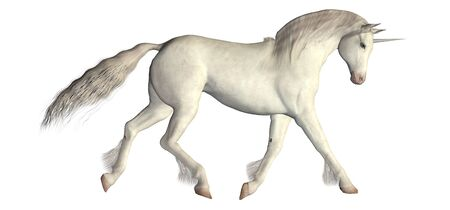Illustration of a white unicorn isolated on a white background illustration