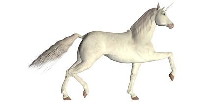 Illustration of a white unicorn isolated on a white background Stock Photo