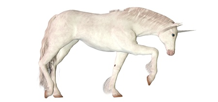trotting: Illustration of a white unicorn isolated on a white background Stock Photo