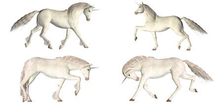 trotting: Illustration of a pack of four  4  cartoon horses with different poses and expressions isolated on a white background Stock Photo