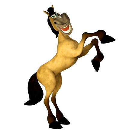 brown horse: Illustration of a happy cartoon horse isolated on a white background Stock Photo