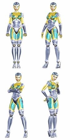 4of5 - 흰색 배경에 고립 된 다른 포즈와 표정으로 네 개의 4 여성 로봇의 팩의 그림 스톡 콘텐츠