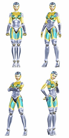 Illustration of a pack of four  4  female robots with different poses and expressions isolated on a white background - 4of5