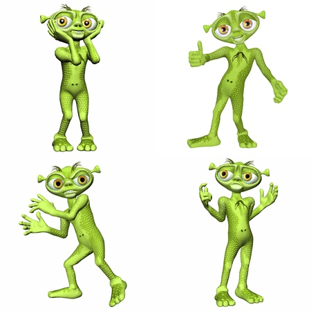 Illustration of a pack of four  4  green aliens with different poses and expressions isolated on a white background