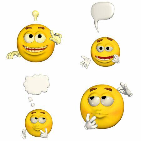 Ilustración de un paquete de cuatro 4 smileys emoticonos con diferentes poses y expresiones aisladas sobre un fondo blanco