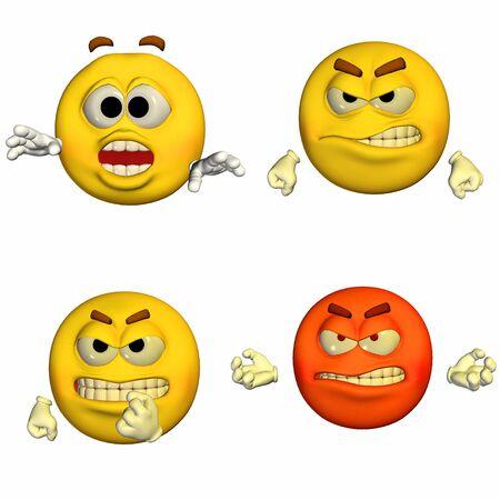Illustration d'un paquet de quatre 4 smileys émoticônes avec différentes poses et expressions isolé sur un fond blanc Banque d'images