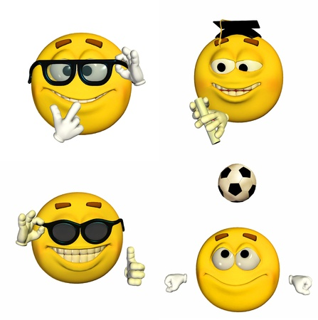 the proud: Illustration of a pack of four  4  emoticons   smileys with different poses and expressions isolated on a white background  Stock Photo