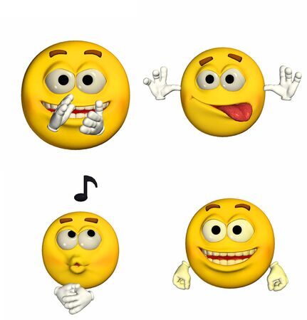 tease: Illustration of a pack of four  4  emoticons   smileys with different poses and expressions isolated on a white background  Stock Photo
